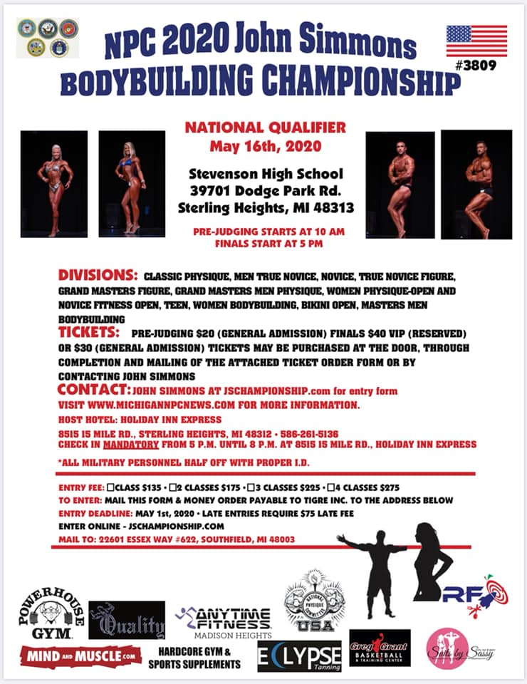 NPC John Simmons Bodybuilding Championships Poster