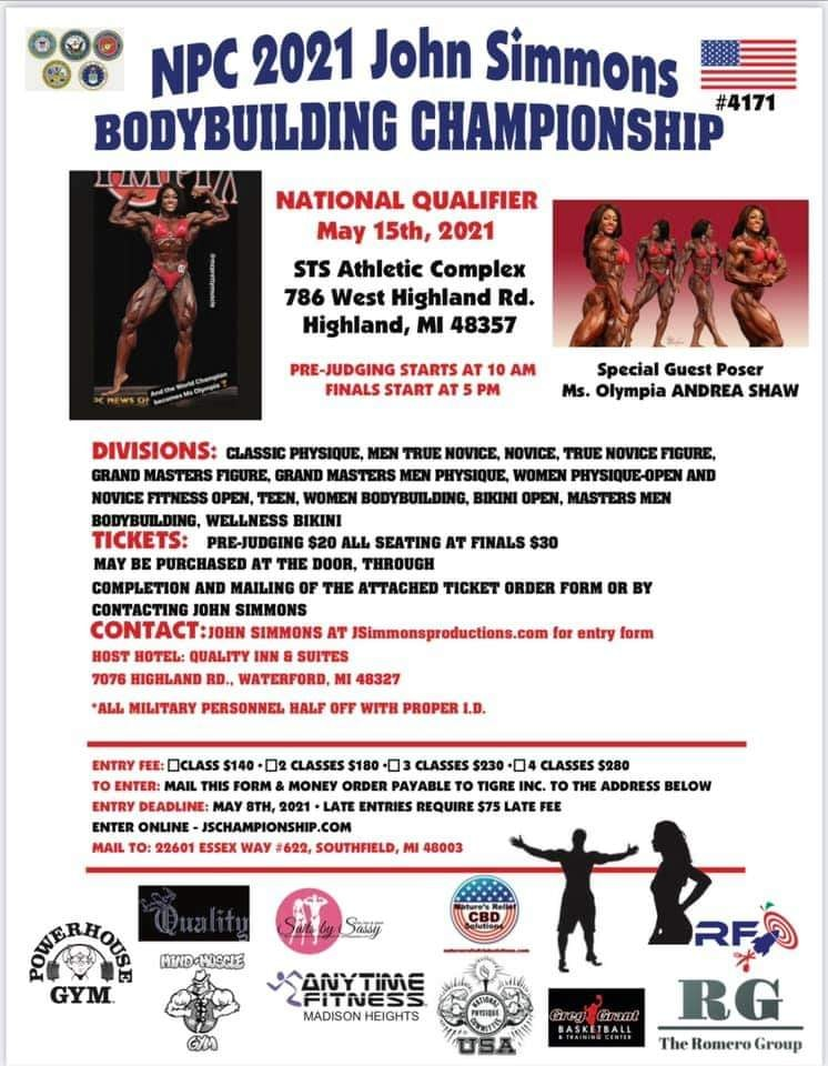 2021 NPC John Simmons Bodybuilding Championships Poster